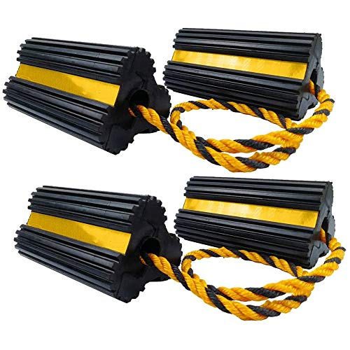 "BUNKERWALL Two Sets of Wheel Chocks Heavy-Duty Rubber Aircraft Style Wheel Block with Nylon Rope Yellow Reflective Tape, 7.9"" Long x 3.9"" High x 4.2"" Wide BW3436"