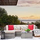 VICTONE 5 Pieces Patio Furniture Sectional Set Outdoor All-Weather PE Rattan Wicker Lawn Conversation Sets Cushioned Garden Sofa Set (Grey)