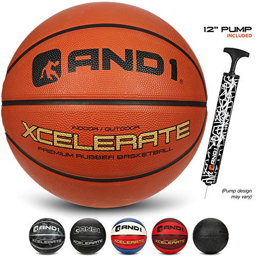 """AND1 Xcelerate Rubber Basketball Deflated w/Pump Included: Official Regulation Size 7 295"""" Streetball Made for Indoor/Outdoor Basketball Games"""