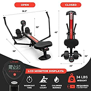 Lanos Hydraulic Rowing Machine | Adjustable Resistance | Smooth and Full-Motion Rowing Stroke | LCD Monitor | Compact for Home Workout | Tone Muscle Improve Heart Health