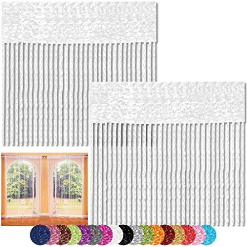 Bestlivings Fadenvorhang 2er Pack Gardine Raumteiler, Auswahl: 90x240 weiß - schneeweiß
