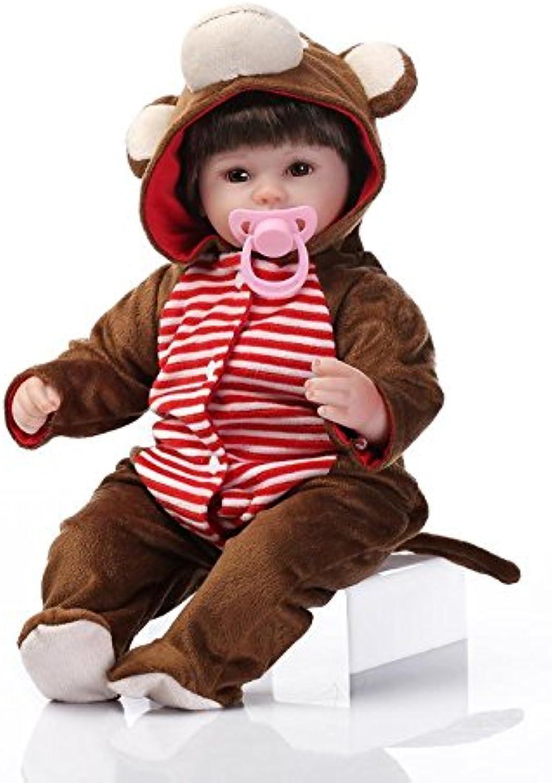 Nicery Neugeboren Baby Puppe Weich Silikon Vinyl 18inch 45cm Magnetisch Mund Naturgetreue Jungen Mädchen Spielzeug AFFE Kleid Eyes Open Reborn Doll A3DE B01E5H7AQ0 Billig ideal  | Roman