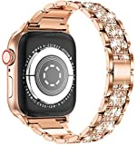 LELONG for Apple Watch Band 38mm 40mm 42mm 44mm SE Series 6 Series 5 4 3 2 1 , Bling Replacement Bracelet iWatch Band, Diamond Rhinestone Stainless Steel Metal Wristband Strap, Champagne Gold