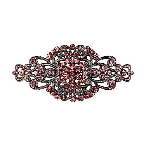 EVER FAITH Women's Crystal Vintage Art Deco Flower Symmetrical Vase Brooch Purple Black-Tone