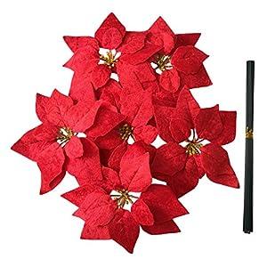 M2cbridge Artificial Christmas Flowers Red Velvet Poinsettia Floral Picks for Christmas Wreath Tree Ornaments (24pcs Dark Red)