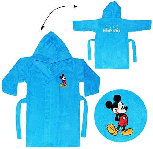 alles-meine.de GmbH Frottee Bademantel -  Disney Mickey Mouse  - 5 bis 8 Jahre / Gr. 116 - 140 - 100 % Baumwolle - mit Kapuze - für Kinder / Mädchen & Jungen - Hausmantel / Mor..