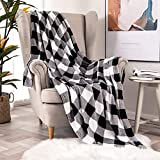 MIULEE Buffalo Check Plaid Throw Blanket Fleece Soft Cozy Lightweight Black and White Bed Blanket Flannel Fuzzy Plush Warm for Couch Sofa Bed Throw Size 50'x60'