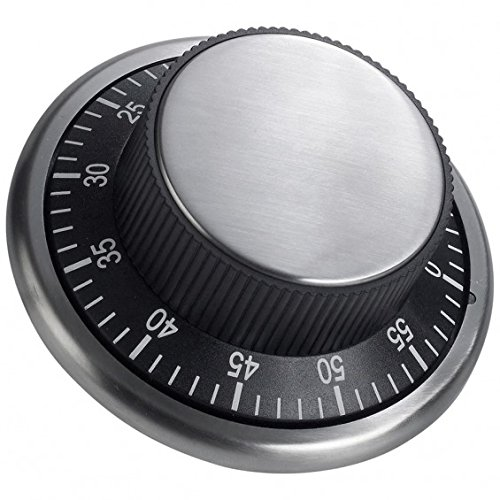 Minuteur magnétique 'Coffre-fort' Ø 10cm - Minuteur magnétique de 60 minutes réglable à une seule main. La surface arrière magnétique permet de le fixer au réfrigérateur ou à la hotte