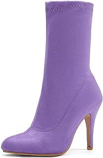 Halfhoge Laarzen Dames, Dames Rekbare Suède Laarsjes, Puntige Stiletto Hoge Hakken Damesschoenen,Light purple,47