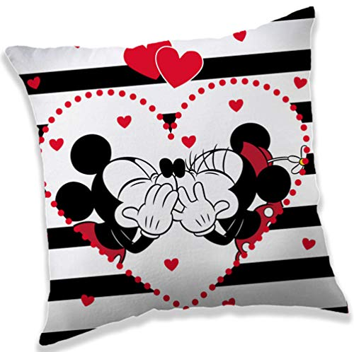 Minnie & Mickey Mouse in Love - Cojín de peluche (40 x 40 cm)