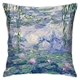 YIEASY Cushion Cover,Claude Monet - Water Lilies Pillow Covers,Funny Cute Pillowcases for Long Trips,1818in/45x45cm