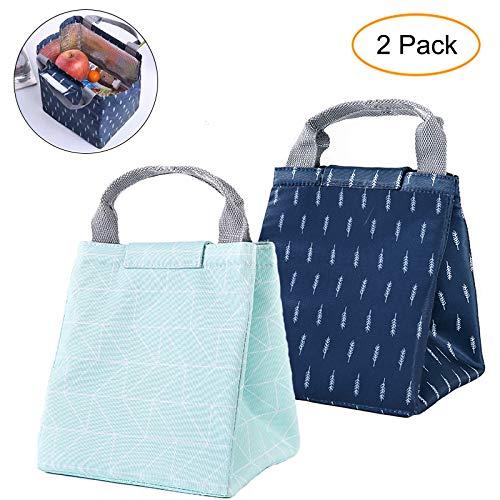 GOTONE 2 Stück Isoliertasche Lunch Tasche, Kühltasche Lunch Bag Picknicktasche Mittagessen Tasche Wasserdicht für Arbeit, Schule, Reise(Dunkelblau, Grün)