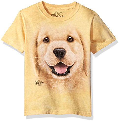 The Mountain Kids Golden Retriever Puppy T-Shirt, Large, Yellow