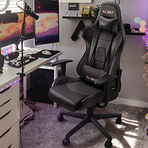 Furmax High-Back Gaming Office Chair Ergonomic Racing Style Adjustable Height Executive Computer Chair,PU Leather Swivel Desk Chair (Black)