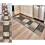 Hciszl Teppich Läufer Flur Grau Braun 80x300cm Korridor rutschfest Waschbar Küche Geometrisches 3D-Druckmuster Nach Maß Modernes Schlafzimmer Bettumrandung Teppich