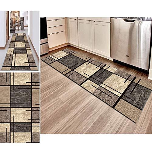 Hciszl Teppich Läufer Flur Grau Braun 80x250cm Korridor rutschfest Waschbar Küche Geometrisches 3D-Druckmuster Nach Maß Modernes Schlafzimmer Bettumrandung Teppich