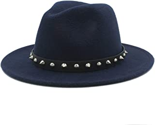 SHENTIANWEI Fashion Men Women Winter Fedora Hat with Punk Rivet Panama Jazz Hat Wide Brim Jazz Hat Size 56-58CM