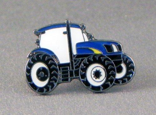 Broche en métal émaillé Motif tracteur bleu