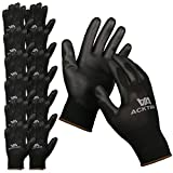 ACKTRA Ultra-Thin Polyurethane (PU) Coated Nylon Safety WORK GLOVES 12 Pairs, Knit Wrist Cuff, for...