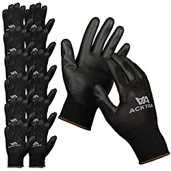 powerful ACKTRA ultra-thin, polyurethane coated nylon protective gloves, 12 pairs, knit wrist cuffs, …