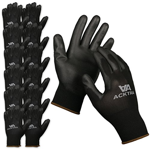 ACKTRA Ultra-Thin PU Safety WORK GLOVES 12 Pairs, WG002 Black / Black, Large