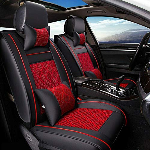 MAGQOO Universal PU Leather Car Seat Cover Full Set w/Pillows 5-Seats SUV Seat Cover Front Rear (Black/Red Mesh) Kentucky