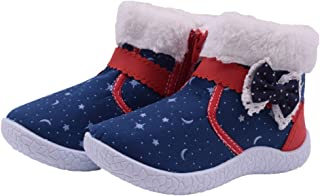 Girls Winter Snow Boots Flat Warm Fur Lined Snow Shoes Outdoor Sneakers for Toddler/Little Kid
