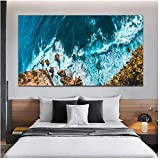 Cuadro en lienzo Wave Beach Pictures Blue Sea Ocean Landscape Prints Wall Art Pictures for Living Room 60x100cm   Sin marco azul