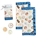 lulujo Baby Security Lovie Blankets  Unisex Softest Breathable Cotton Muslin Security Blanket with Silky Satin Trim  Neutral Comforting Blanket for Girls & Boys   16in by 16 in  Donuts