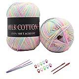 6X 50g Knitting Rainbow Wool Yarn Balls Colorful Hand Crochet Knitting Double Acrylic Yarn Set, 23 Colors, with 3 Crochet Hooks, 2 Needles, 10 Crochet Locking Stitch Markers (11)
