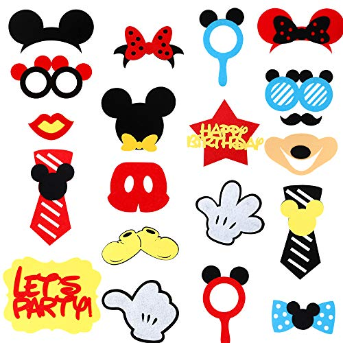 MALLMALL6 Mickey Mouse Photo Booth Props,Party Table Centerpieces Decorations Kids Birthday Party Favor Dress-up Accessories and Theme Party Decorations - 21 Count