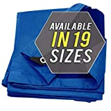 Tarp Cover Blue Waterproof Great for Tarpaulin Canopy Tent, Boat, RV Or Pool Cover!!! (Standard Poly Tarp)