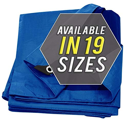 Tarp Cover Blue Waterproof 9x12 Great for Tarpaulin Canopy Tent, Boat, RV Or Pool Cover!!! (Standard Poly Tarp 9'X12')