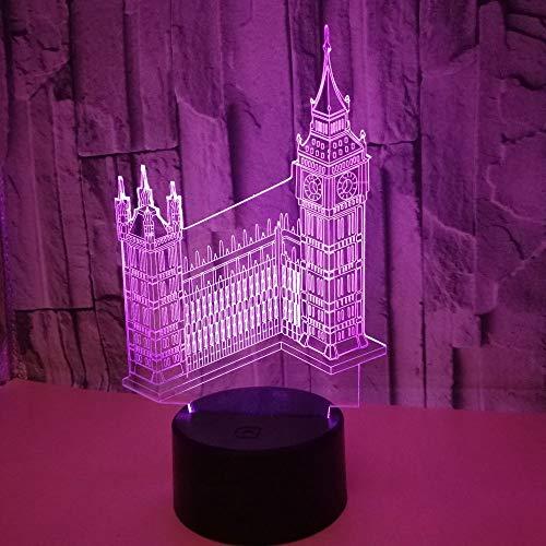 BFMBCHDJ Gebäude Big Ben 3D Nachtlicht Bunte Touch LED Visuelles Licht Geschenk Acryl 3D Kleine Tischlampe A3 Schwarz Basis + Fernbedienung