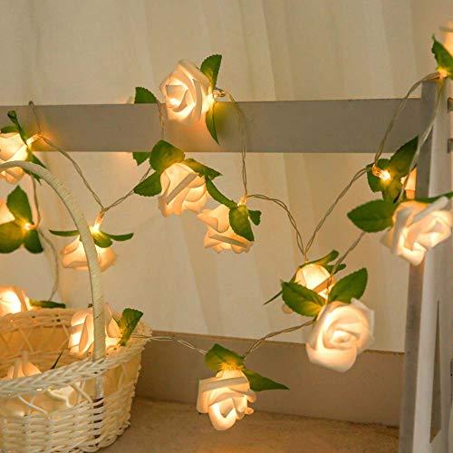ZRSWV Guirnalda de 20 luces LED con diseño de rosas y flores, funciona con pilas, luces románticas para interiores y exteriores, día de San Valentín, decoración de boda (blanco cálido)