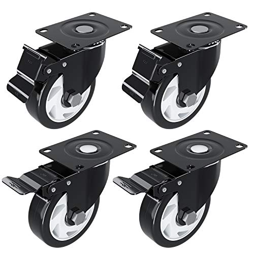 4 inch Caster Wheel with Brake Locking and NO Noise Rubber Wheels, Heavy Duty Swivel Plate Caster for DIY Cart Dolly, Support 1200 lbs, 4 Pack