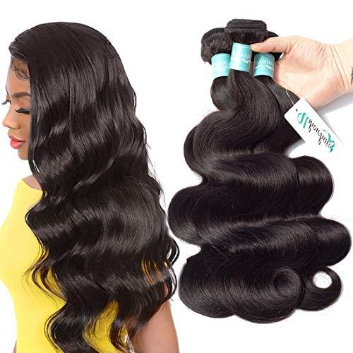 Peruvian Human Hair Body Wave Bundles 100% Virgin Unprocessed Body Wave Hair Weave Extensions 22 24 26inch Remy Human Hair Bundles Body Wavy Hair 3 Bundles Natural Black