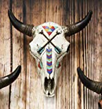 Ebros 10.75' High Western Southwest Steer Bison Buffalo Bull Cow Horned Skull Head With Two Crossed Arrows And Geometric Pyramids Design Wall Mount Decor Native Indian Sacred Animal Totem Bust Skulls