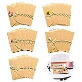 Biglietto di Auguri in Bianco Vintage Kraft Biglietti di Auguri Vuoti con Buste Cartoncini Cartolina di Auguri di Fiori Secchi Fatti a Mano per Compleanno Matrimonio Festa della mamma 25 pezzi