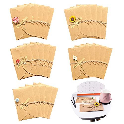 Tarjetas de Felicitación de Flores Secas Sobres en Blanco Tarjetas de Felicitación Hechas a Mano Vintage Kraft Flores Secadas Decorada Papel Kraft Retro para Boda Regalo Fiesta Año Nuevo 25 piezas