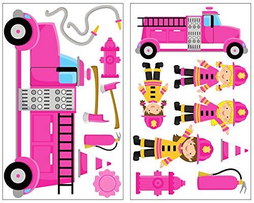 Samunshi® Camion de pompier Lot de 17 pièces fille Pompiers Sticker mural Sticker mural, 2x 16x26cm
