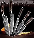 Patrón del cuchillo de cocina de acero inoxidable Hojas de Damasco Chef Cuchillo de pelado de utensilios de cocina cocina (Color : 5 piece set)
