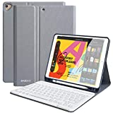 iPad Keyboard Case for New iPad 10.2 2019(7th Gen)- iPad Air 3 10.5' 2019- iPad Pro 10.5' 2017- Detachable Wireless Bluetooth Keyboard- Magnetic Smart Case with Pencil Holder (Sparkling Grey)