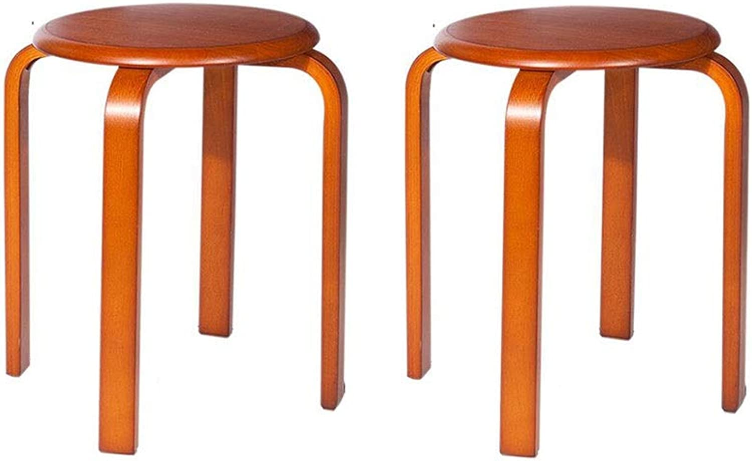 QIQI-LIFE Set of 2 Stacking Stool,Rubberwood Round Stool,Dining Table Stool Fashion Modern Home Furniture (color   Honey color)