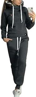 Moda Tuta da Ginnastica Casuale Abbigliamento Sportivo 2 Pezzi con Fodera in Pile per Inverno Autunno, Donna Manica Lunga ...