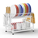 Dish Rack, GSlife 2 Tier Stainless Steel Dish Rack with Drainboard, Utensil Holder Rustproof Plate Holder Dish Drainer for Kitchen Counter Top, White