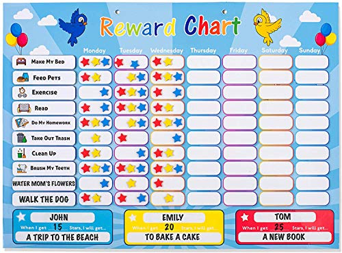 HouseCraft Reward Chart for Kids - Chores Chart for Multiple Kids - A Magnetic Responsibility Chart with 240 Stars, Eraser, Bag - Includes 10 Chores and Customizable Chores