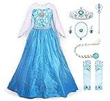 JerrisApparel Robe Costume Petites Filles Princesse Elsa Déguisement, Bleu avec Accessoires, 3-4...