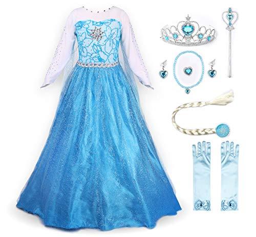 JerrisApparel Prinzessin Kostüm Karneval Verkleidung Party Kleid (130, ELSA mit Zubehör)