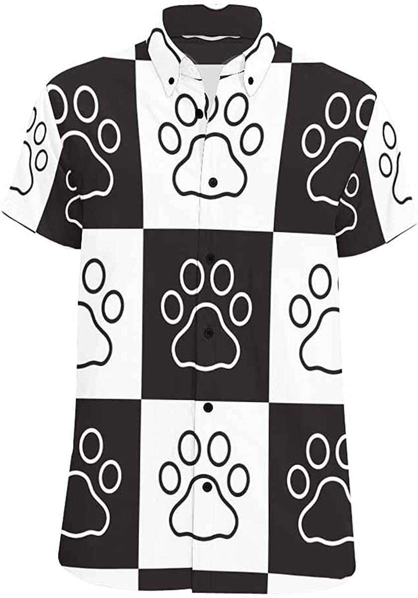 InterestPrint Dog Paw Footprint Button Printed Casual Shirt Down Ranking Portland Mall TOP17